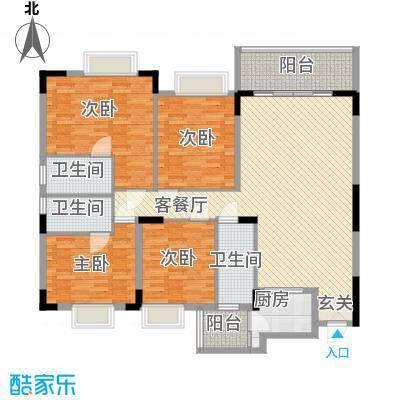中铭豪园154.68㎡18A户型4室2厅2卫1厨