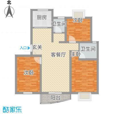 万马滨河城115.81㎡户型3室2厅1卫1厨
