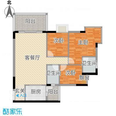 城市丽景115.55㎡01单位户型3室2厅2卫1厨