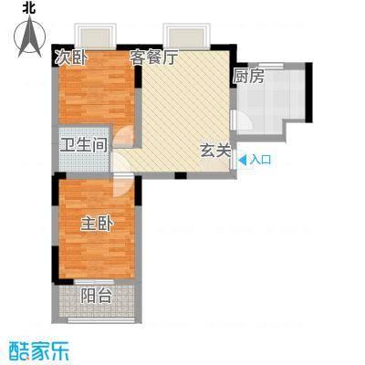 天建天和园75.30㎡秋园1#楼B户型2室1厅1卫1厨
