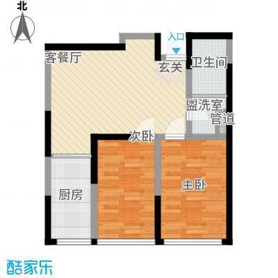 世昌明珠72.30㎡高层标准层E户型2室2厅1卫1厨