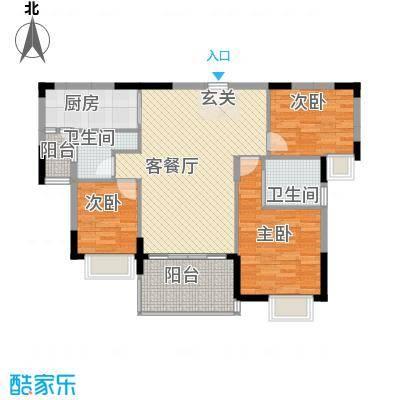 朗晴假日16.87㎡3栋3座03户型3室2厅2卫1厨