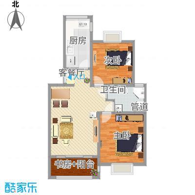 吉利名苑76.00㎡上海户型2室2厅1卫1厨-副本