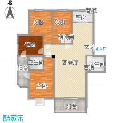 大家新城138.42㎡7#楼B7a户型4室2厅2卫1厨