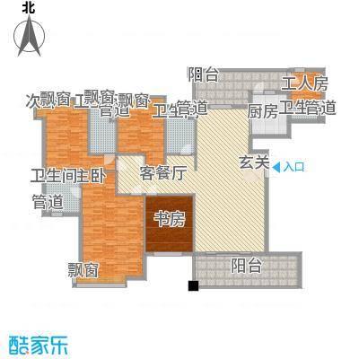 东方华府246.00㎡11栋龙玺1单元标准层01户型5室2厅4卫1厨