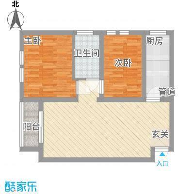 中宏美丽园二期76.20㎡F户型2室2厅1卫1厨