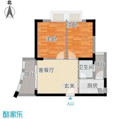 富丽达花园68.75㎡1栋A户型2室1厅1卫1厨