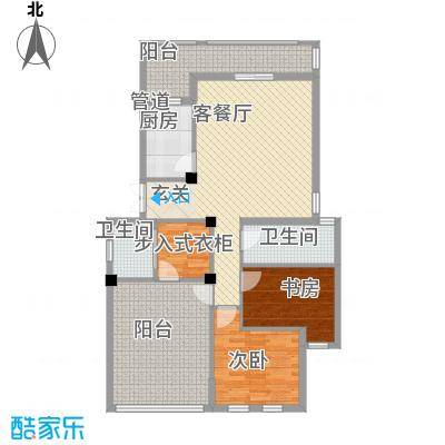 春晓源燕园131.35㎡高层25#-3户型2室2厅2卫1厨