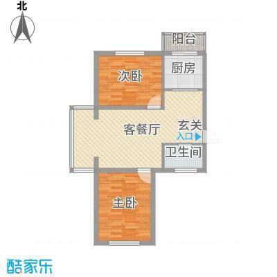 金美程家园76.50㎡D6户型2室2厅1卫