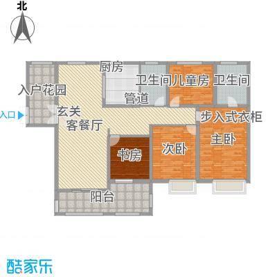 中建・城中壹号公馆186.00㎡二期10号楼标准层C1户型5室2厅2卫1厨
