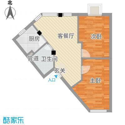 河风丽庭67.00㎡户型2室2厅1卫1厨