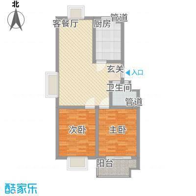 信佳花园二期住宅标准层B户型2室2厅1卫1厨