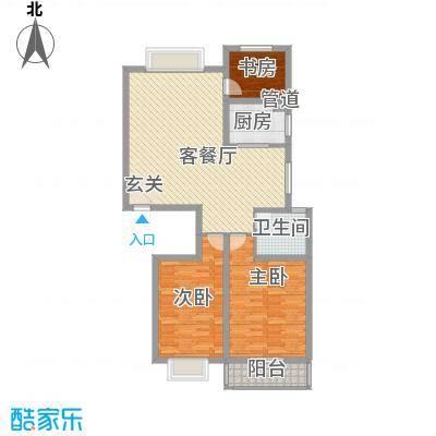 碧海绿洲125.00㎡E户型3室2厅1卫1厨