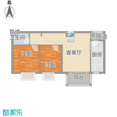 红旗街万达广场84.13㎡4#7户型2室1厅1卫1厨