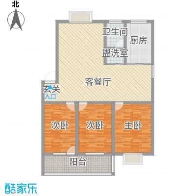 和谐家园13.52㎡E户型3室2厅1卫1厨
