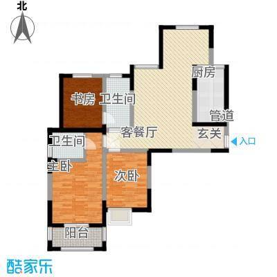 雍翠园124.00㎡户型3室