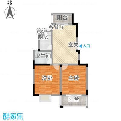 名校嘉园78.00㎡一期标准层B户型2室2厅1卫
