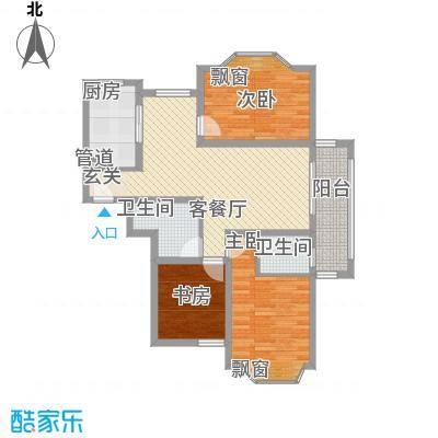 丽景花园115.00㎡户型3室
