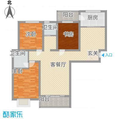 伊岸宜家141.15㎡8/11/12号楼F户型3室2厅2卫1厨