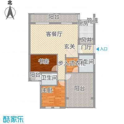 春晓源燕园131.60㎡高层9#-06户型2室2厅2卫1厨