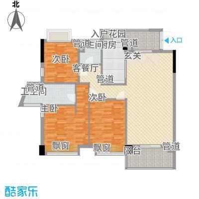 东方华府141.00㎡6栋1单元标准层01+04户型3室2厅2卫1厨