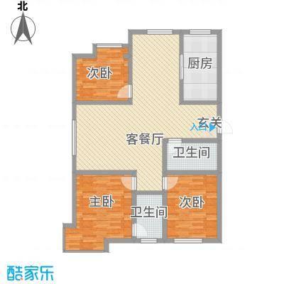 天成一品134.20㎡2号楼三居户型3室2厅2卫1厨