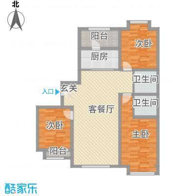 天成一品132.60㎡8号楼三居户型3室2厅2卫1厨