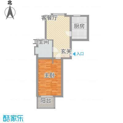 恒杰丁香花园73.67㎡I户型1室1厅1卫1厨