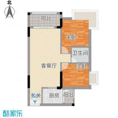 东城畔山75.00㎡6栋01-02户型2室2厅1卫1厨