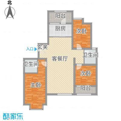 天成一品133.21㎡5号楼三居户型3室2厅2卫1厨