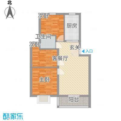 汇景豪庭87.25㎡F户型3室2厅1卫1厨