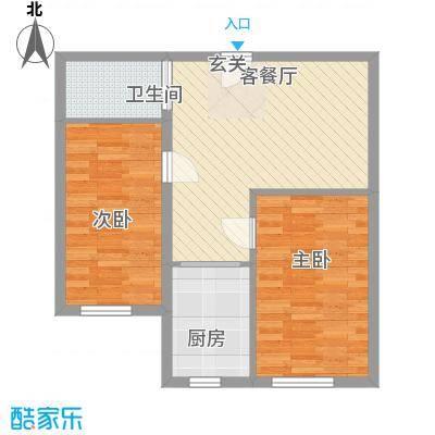 亿隆富贵名苑75.20㎡一期高层户型2室1厅1卫