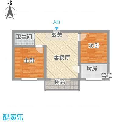 金海花园76.00㎡一期2号楼标准层A户型2室1厅1卫