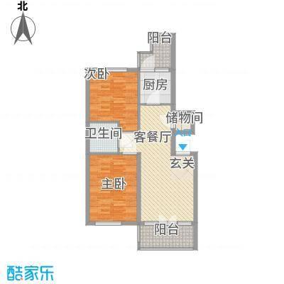 学院新城二期高层E户型2室1厅1卫1厨