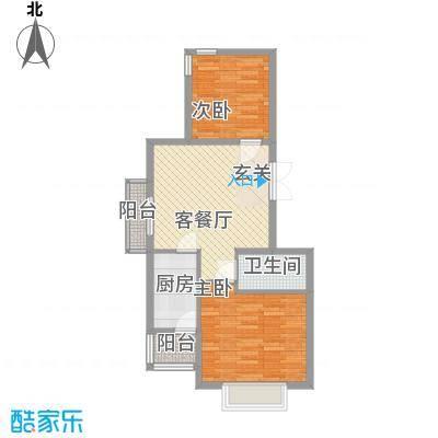 国泉城77.80㎡E4户型2室2厅1卫1厨