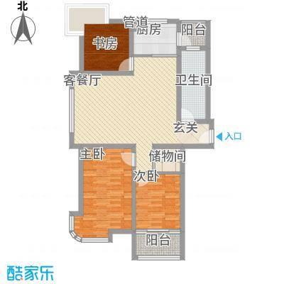 银河花园111.58㎡户型3室2厅1卫1厨