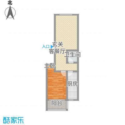 山水庭院74.00㎡6C户型1室1厅1卫1厨
