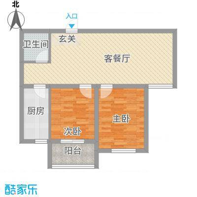 盛秦福第84.50㎡C户型2室2厅1卫