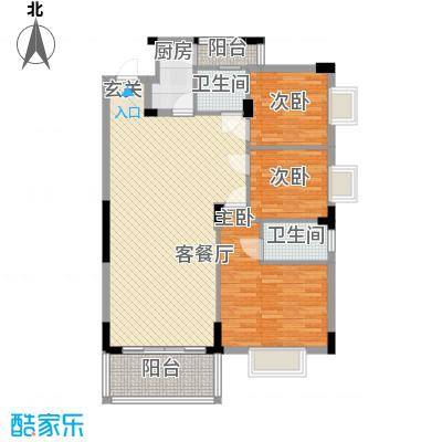 中铭豪园122.55㎡18D户型3室2厅2卫1厨