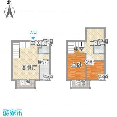 秦新悦蓝山66.23㎡B户型