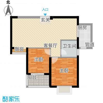 莲花尚院88.21㎡E户型2室2厅1卫1厨