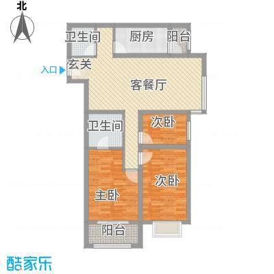 万通・熙悦华府12.00㎡一期E9户型3室2厅2卫1厨