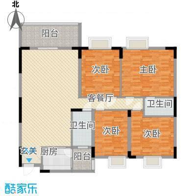 中铭豪园146.76㎡18B户型4室2厅2卫1厨