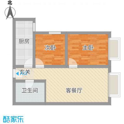 万通・熙悦华府7.00㎡一期F6户型2室2厅1卫1厨