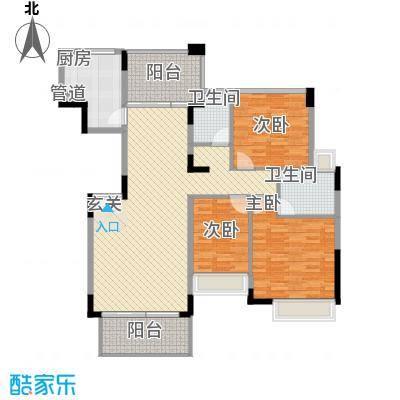 东方新城125.32㎡C2户型3室2厅2卫1厨