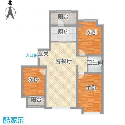 天成一品125.30㎡6号楼三居户型3室2厅1卫1厨