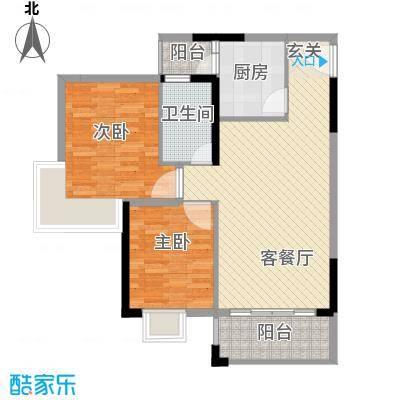 西街苑二期77.00㎡B―1户型2室2厅1卫