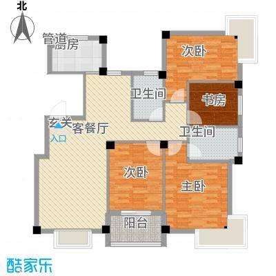 君悦龙庭135.00㎡H户型4室2厅2卫1厨