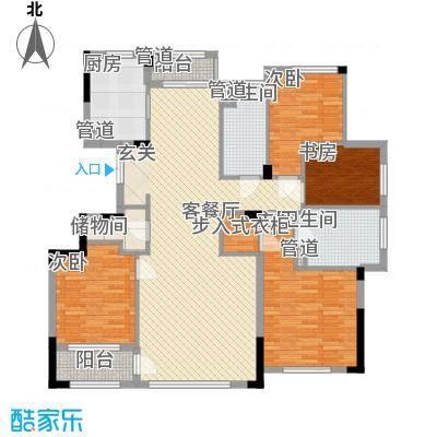 荣合公馆165.00㎡2#、4#楼标准层B户型4室2厅2卫1厨