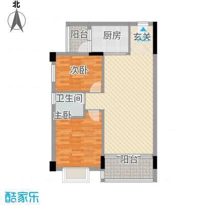 龙日花苑三期77.68㎡B1栋-102户型2室2厅1卫